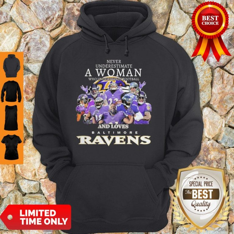 Never Underestimate A Woman Who Understands Football And Loves Baltimore Ravens Hoodie