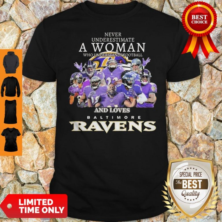 Never Underestimate A Woman Who Understands Football And Loves Baltimore Ravens Shirt
