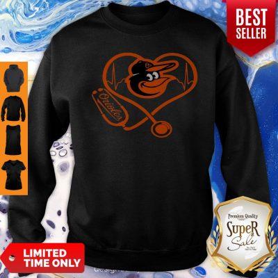 Awesome Baltimore Orioles Baseball Stethoscope Heartbeat Sweatshirt