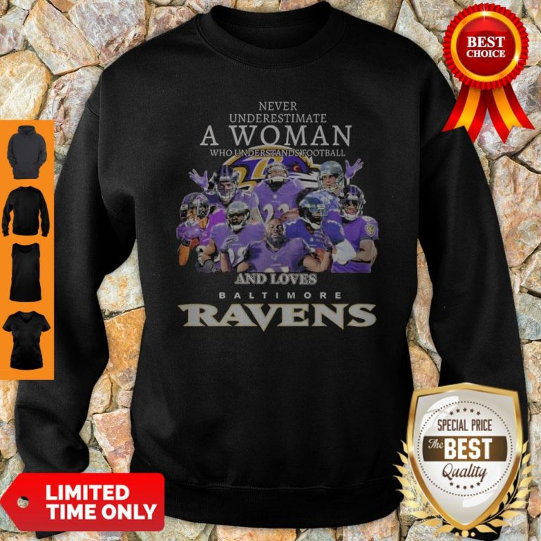 Never Underestimate A Woman Who Understands Football And Loves Baltimore Ravens Sweatshirt