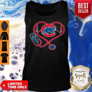 Top Chicago Cubs Baseball Stethoscope Heartbeat Tank Top