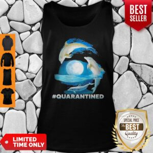 Pretty Dolphins #Quarantined Nautical Full Moon Bottlenose Coronavirus Tank Top