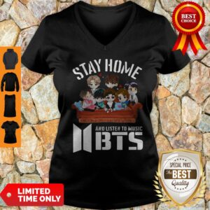 Official Stay Home And Listen To Music BTS Coronavirus V-neck