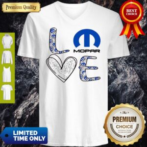 Awesome Glitter Love Mopar Logo V-neck