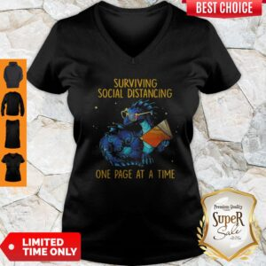 Funny Surviving Social Distancing One Page At A Time Dragon V-neck