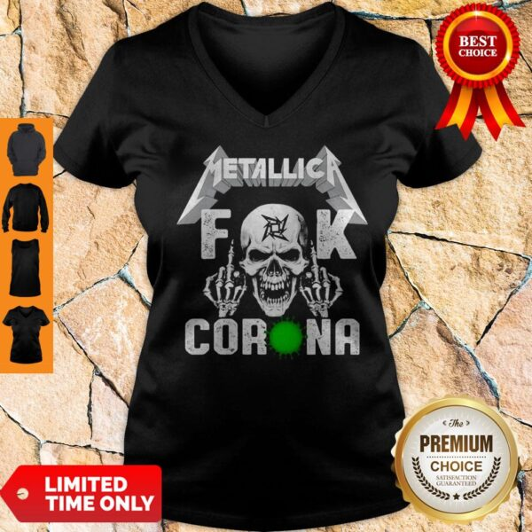 Funny Skull Metallica Fuck Coronavirus V-neck