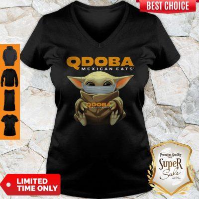 Pretty Baby Yoda Face Mask Qdoba Mexican Eats V-neck