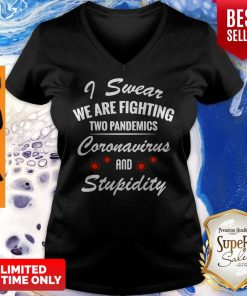 I Swear We Are Fighting Two Pandemics Coronavirus And Stupidity V-neck