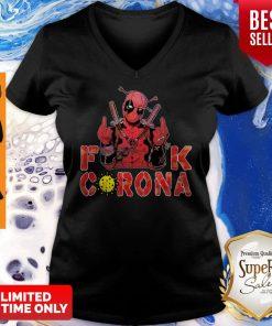 Funny Deadpool Fuck Corona V-neck