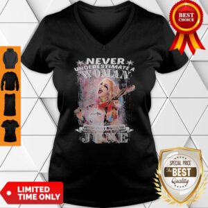 Harley Quinn Never Underestimate A Woman Who Was Born In June Snowflakes V-neck