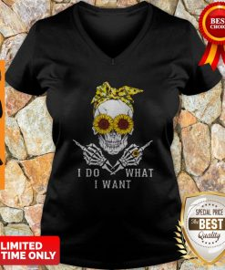 Premium Sunflower Skull I Do What I Want V-neck