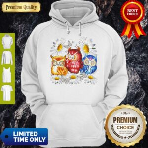 Official Owl And Daisy Flower Hoodie