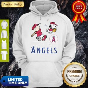 Snoopy And Charlie Brown Playing Baseball Los Angeles Angels Hoodie