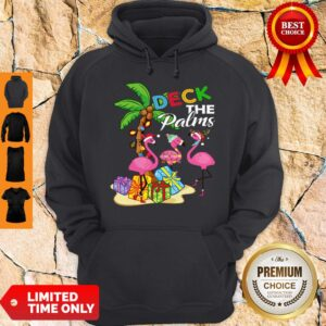 Official Deck The Palms Merry Flamingo Christmas Hoodie
