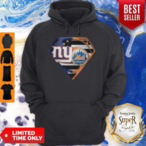 Superhero New York Giants Vs New York Mets Diamond American Flag Hoodie