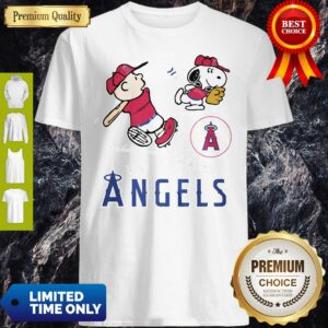 Snoopy And Charlie Brown Playing Baseball Los Angeles Angels Shirt