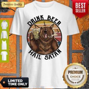 Official The Bear Drink Beer Hail Satan Shirt