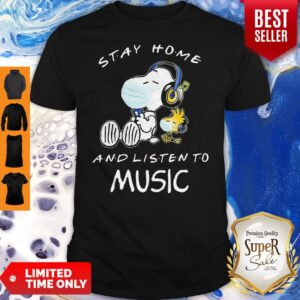 Snoopy Wear Mask Stay Home And Listen To Music Covid 19 Shirt