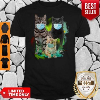 Official Three Cat Wear Face Mask Shirt