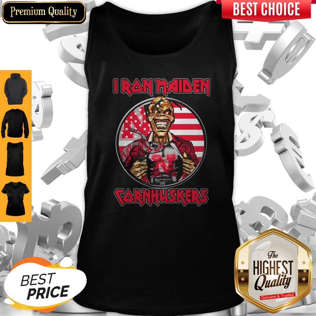 Skull Iron Maiden Nebraska Cornhuskers American Flag Independence Day Tank Top
