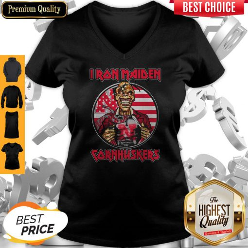 Skull Iron Maiden Nebraska Cornhuskers American Flag Independence Day V-neck