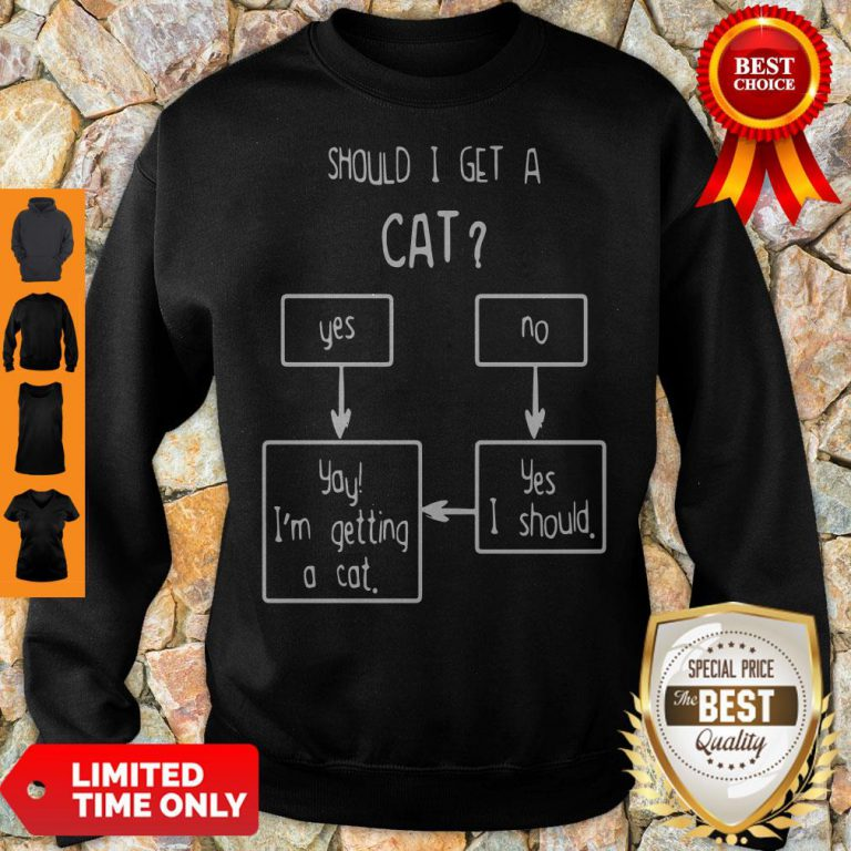 Official Should I Get A Cat Yes Or No Sweatshirt