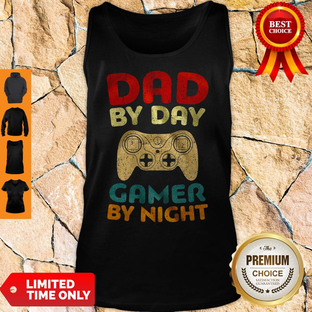 Official Family Dad By Day Gamer By Night Tank Top