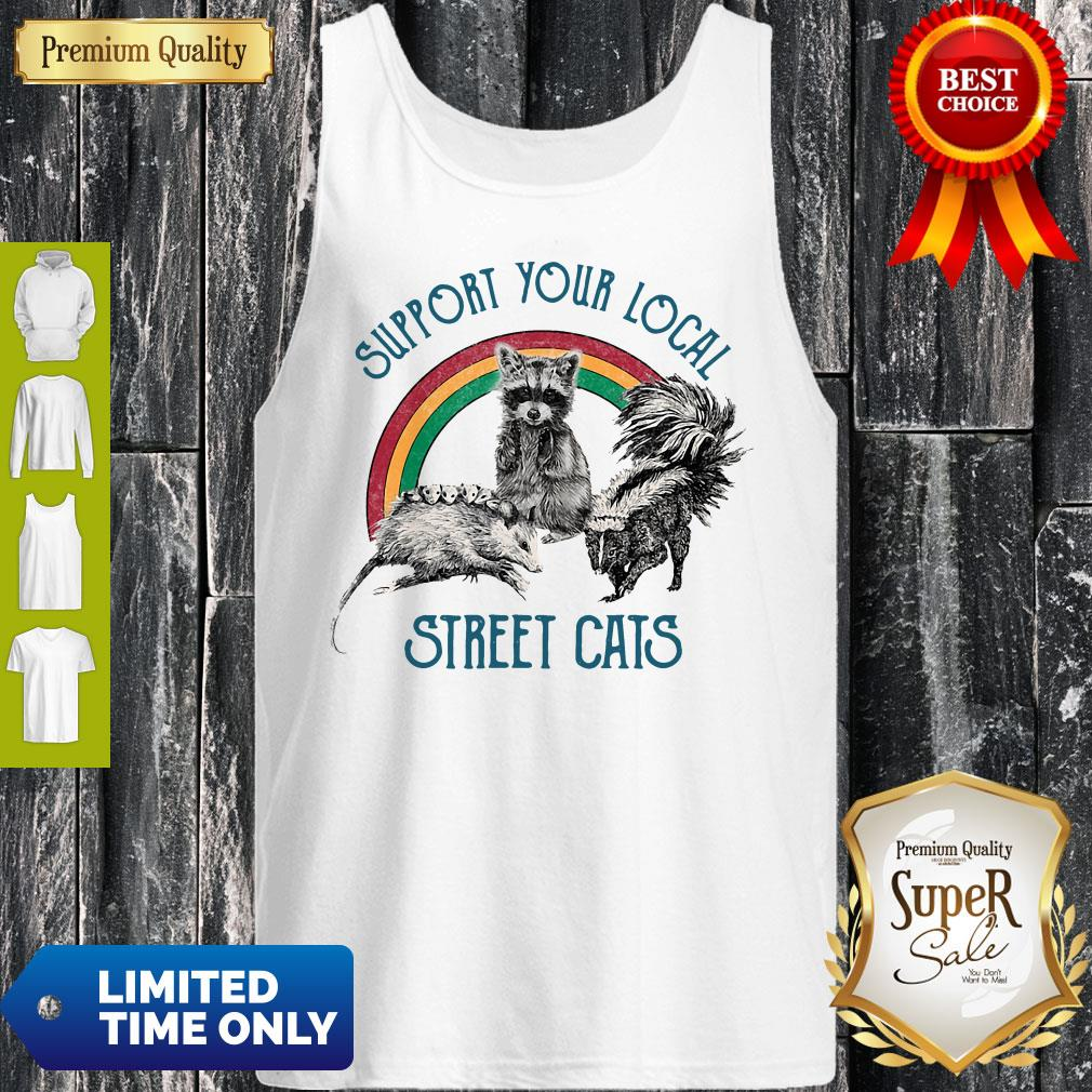 Official Raccoon Support Your Local Street Cats Tank Top