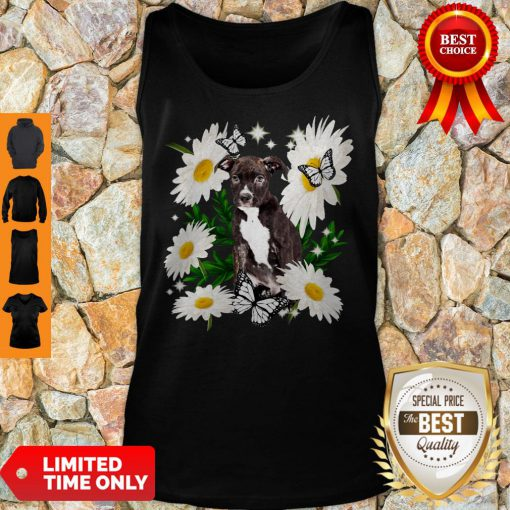 Staffordshire Bull Terrier Dog Daisy Flower Classic Tank Top