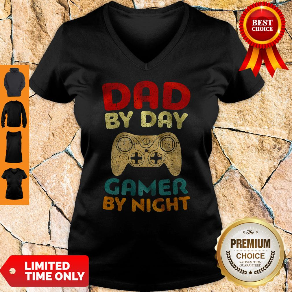 Official Family Dad By Day Gamer By Night V-neck
