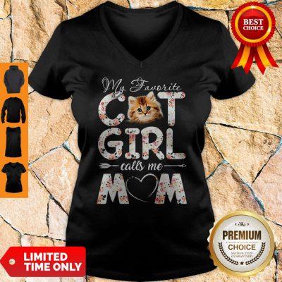 Official My Favorite Cat Girl Calls Me Mom V-neck