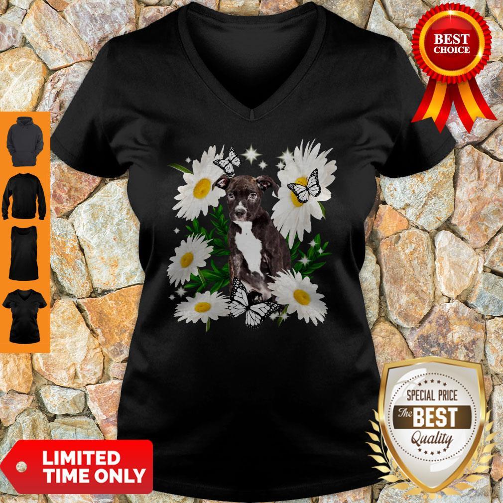 Staffordshire Bull Terrier Dog Daisy Flower Classic V-neck