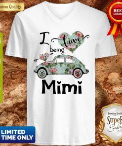 Official Floral Car I Love Being A Mini V-neck