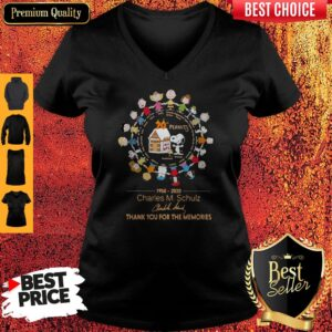 70th Peanuts 1950 2020 Charles M Schulz Thank You For The Memories Signatures V-neck