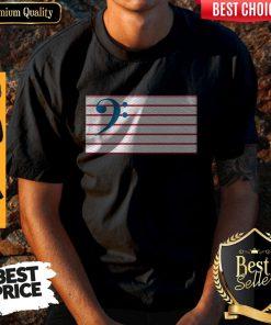 Bass Guitar Clef Flag Embroidered Shirt
