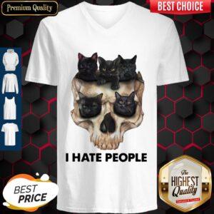 Black Cats Skull I Hate People V-neck