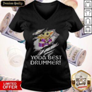 Blood Inside Me Baby Yoda Best Drummer V-neck