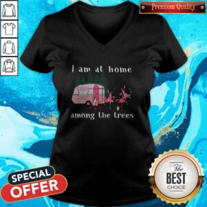 Camping Flamingos I Am At Home Among The Trees V-neck