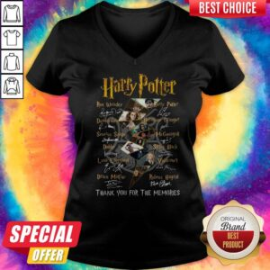 Harry Potter Logo Characters Thank You For The Memories Signatures V-neck