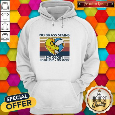 Heart No Grass Stains No Glory No Bruises No Story Vintage Hoodie