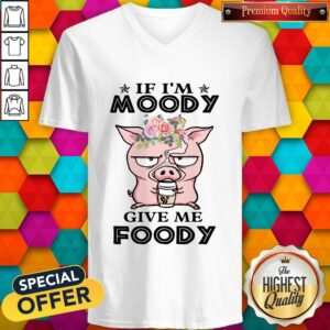 If Im Moody Give Me Foody Pig Coffee V-neck