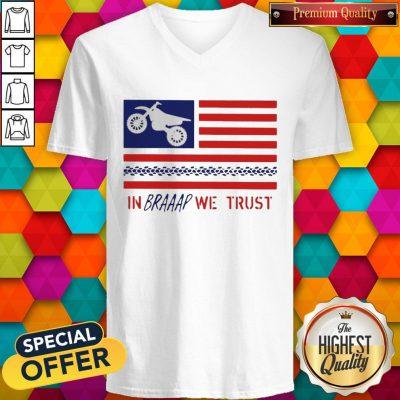 In Braaap We Trust Dirt Bike Patriotic USA V-neck