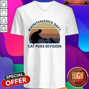 Maintenance Dept Cat Puke Division Vintage V-neck