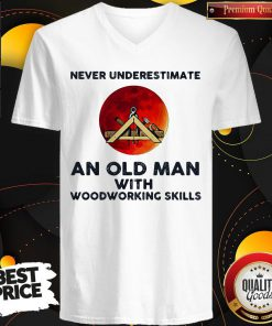 Never Underestimate An Old Man With Woodworking Skills Sunset V-neck