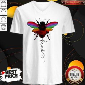 Official LGBT Bee Kind White V-neck