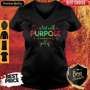 Physical Therapist Created With A Purpose V-neck