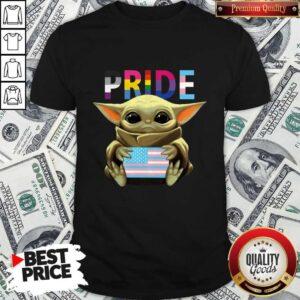 Pride Baby Yoda Hug American Flag Shirt