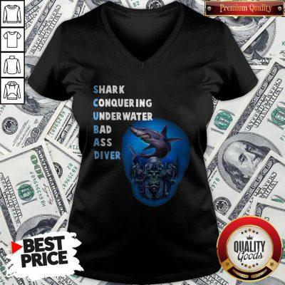 Quality Scuba Shark Conquering Underwater Badass Diver V-neck