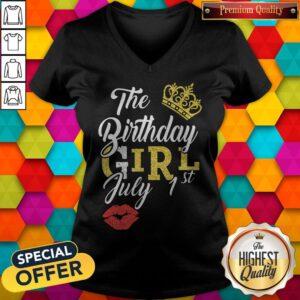 Queen Lip The Birthday Girl July 1st Diamond V-neck