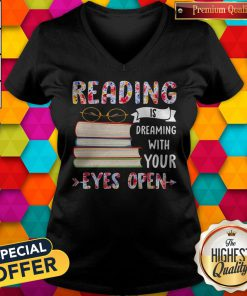Reading Is Dreaming With Your Eyes Open Book Glasses V-neck